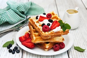 Waffles with berries