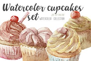 Watercolor 4 cupcakes set