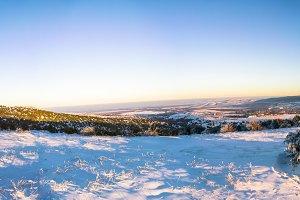 Panoramic sunset view on Crimea city