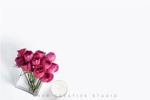 Minimal Floral Flatlay, Pink Roses