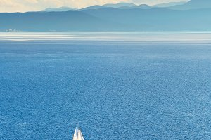 Sail boat on Orid lake