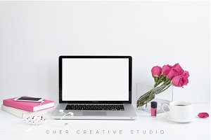 Laptop Mockup, Bright Pink