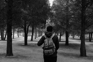 Young traveler trekking into the woods with backpack along the path (Black and White tone)