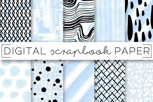 Powder Blue Abstract Digital Paper