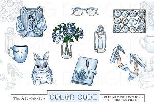 Blue Fashion Elements Clip Art