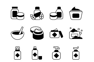Cosmetics, Line and Solid Icons
