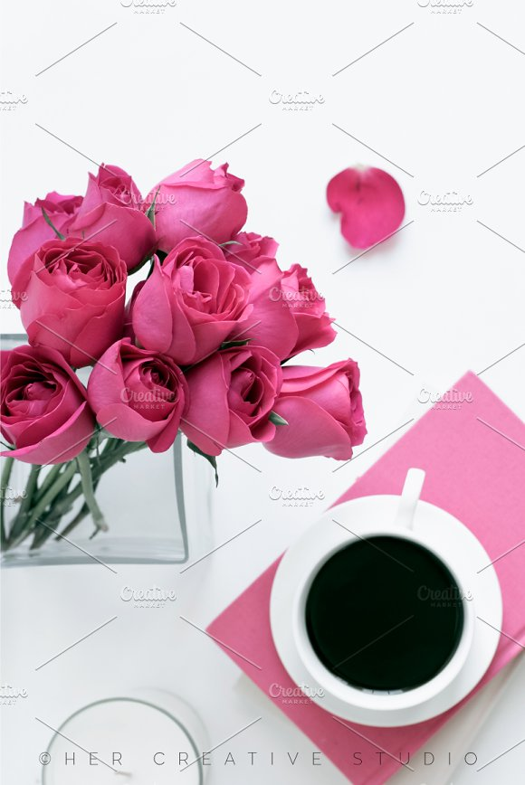 Portrait Pink Roses And Coffee