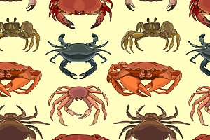 Pattern of vector crab icons