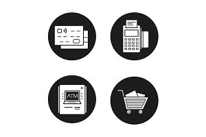Shopping. 4 icons. Vector
