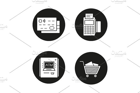 Shopping 4 Icons Vector
