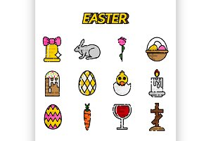 Easter flat styled icons