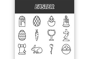 Easter icons set over white.