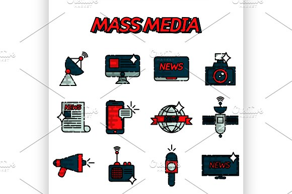 Mass Media Flat Icons Set