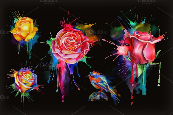 Watercolor Roses Set Of Vector Icon