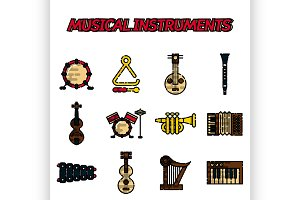 Musical instruments flat icon set