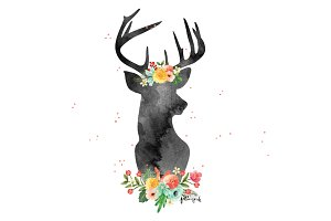Watercolor Flowery Deer