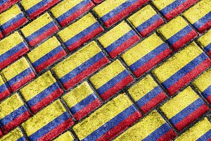 Colombia Flag Urban Grunge Pattern