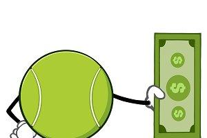 Tennis Ball Holding A Dollar Bill