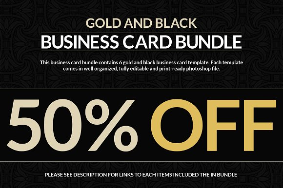 6 gold and black business cards business card templates creative 6 gold and black business cards business card templates creative market wajeb Image collections