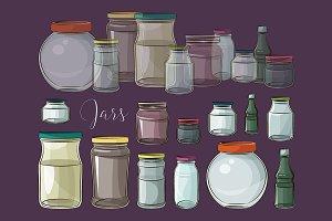 Set of empty jars