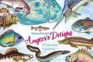 Watercolor Fish Clipart (big set)