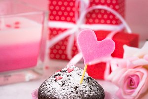 Chocolate cupcake to Valentine day