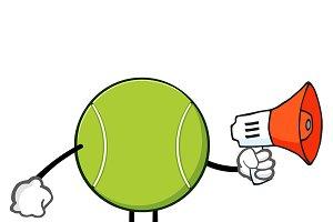 Tennis Ball Faceless With Megaphone