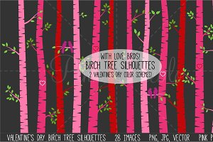 Valentine's Day Birch Trees & Birds
