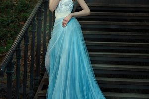 Fairy  blue long dress of a fairy tale.