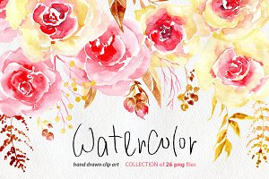 Watercolor flowers yellow & pink png