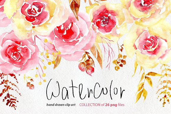 Watercolor flowers yellow pink png graphics creative market watercolor flowers yellow pink png graphics mightylinksfo