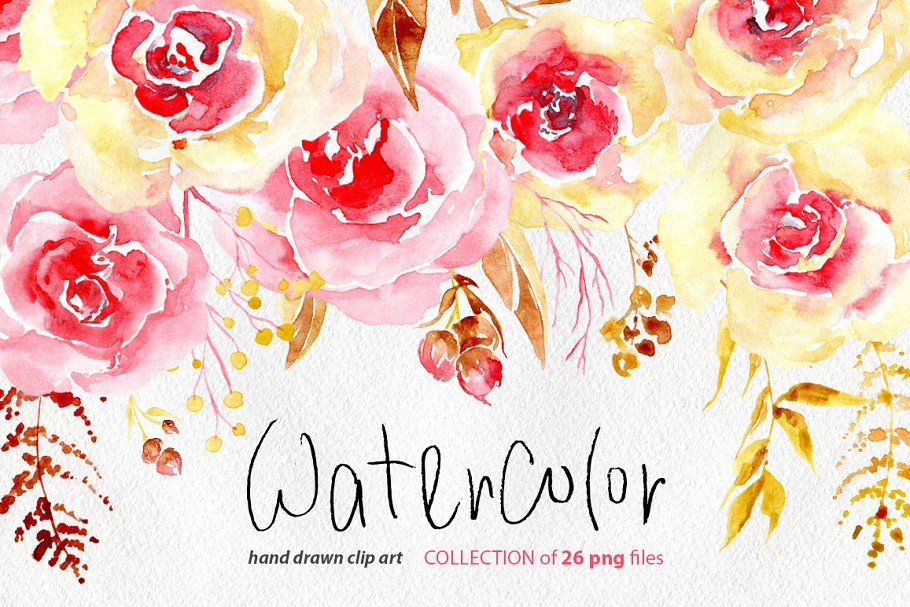 Watercolor flowers yellow. Pink png