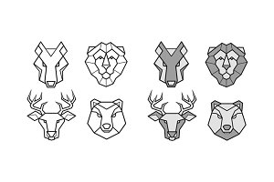Wild animals geometric heads set