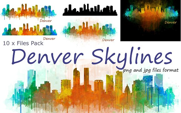 10xFiles Pack Denver Skylines - Illustrations