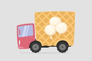 Vector Cartoon Ice Cream Truck