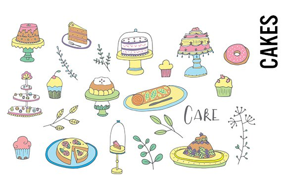 Cakes And Desserts Doodle Clipart