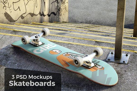 3 Skateboard Mockups