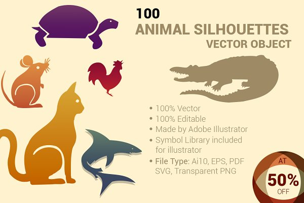 Photoshop Shapes: ORCOLOR - 100 ANIMAL Silhouettes Vector Shapes