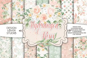 Watercolor hydrangea roses DP pack