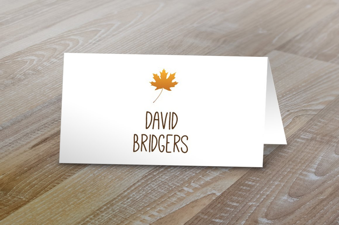 fall table tent name cards card templates creative market