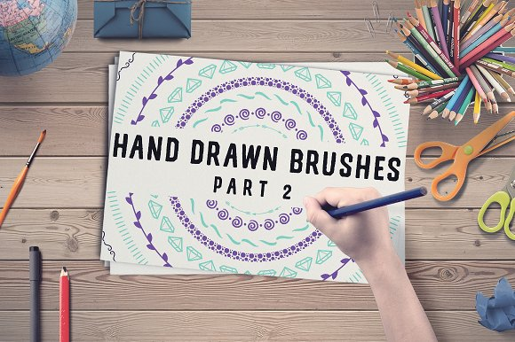 50 Hand Drawn Brushes, part-Graphicriver中文最全的素材分享平台