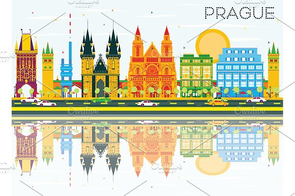 Prague Skyline With Color Buildings