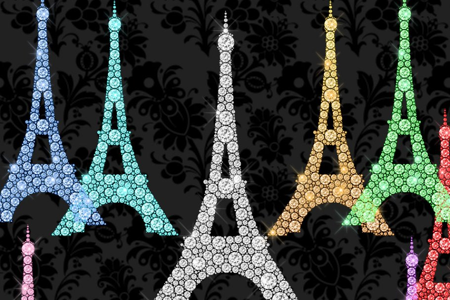 Eiffel tower glitter. Diamond clipart