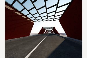 Traffic Tunnel 3D rendering.