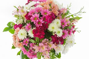 Chrysanthemum bouquet from above