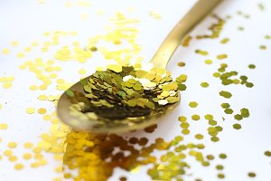 Gold Spoon Big Glitter | Stock Photo