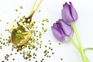 Gold Glitter Tulips | Stock Photo