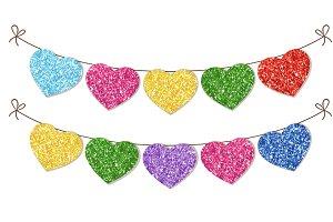 Glitter hearts bunting