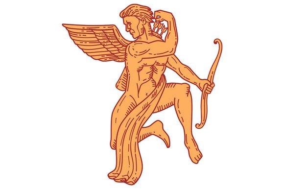 Cupid Bow Drawing Arrow Mono Line