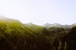 Morning sun in mountains. Landscape